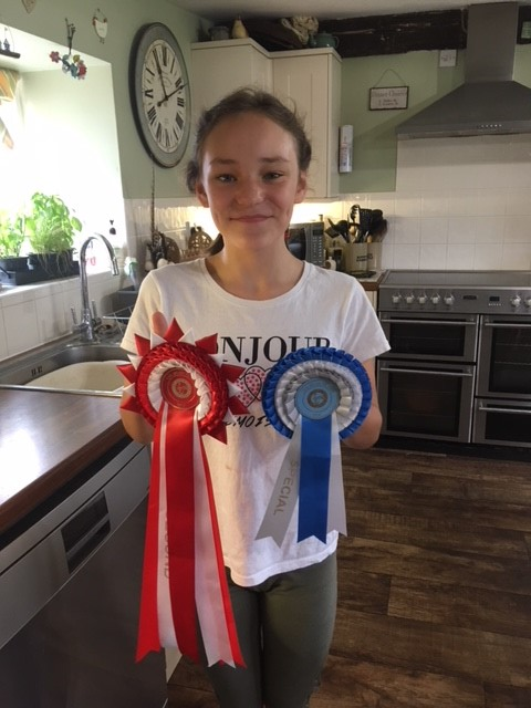 Girl with horse riding ribbons