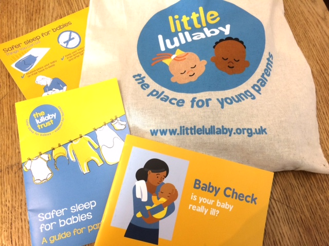 Goody bag and leaflets from Lullaby trust