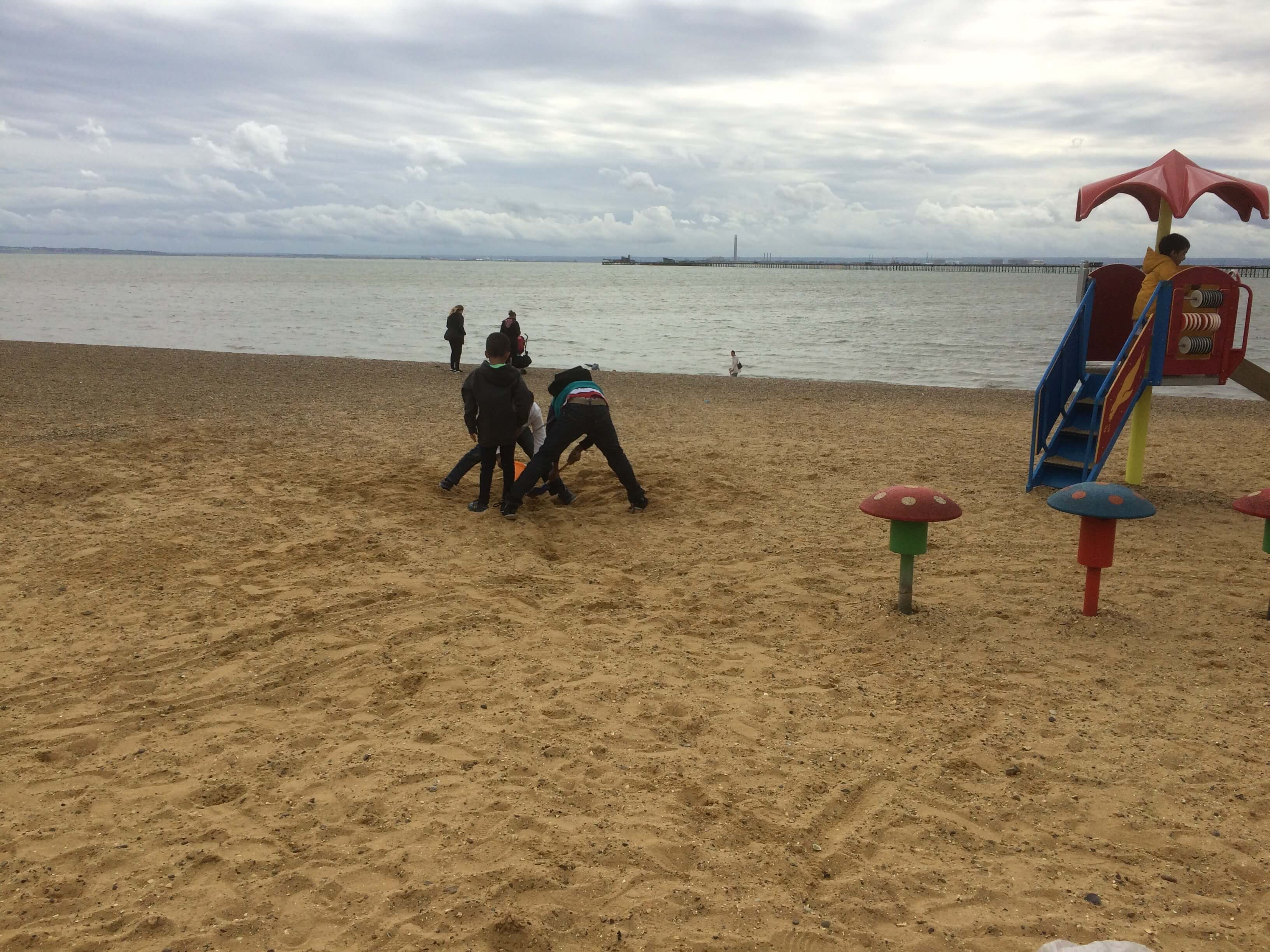 Children playing on the beach at Southend on Sea