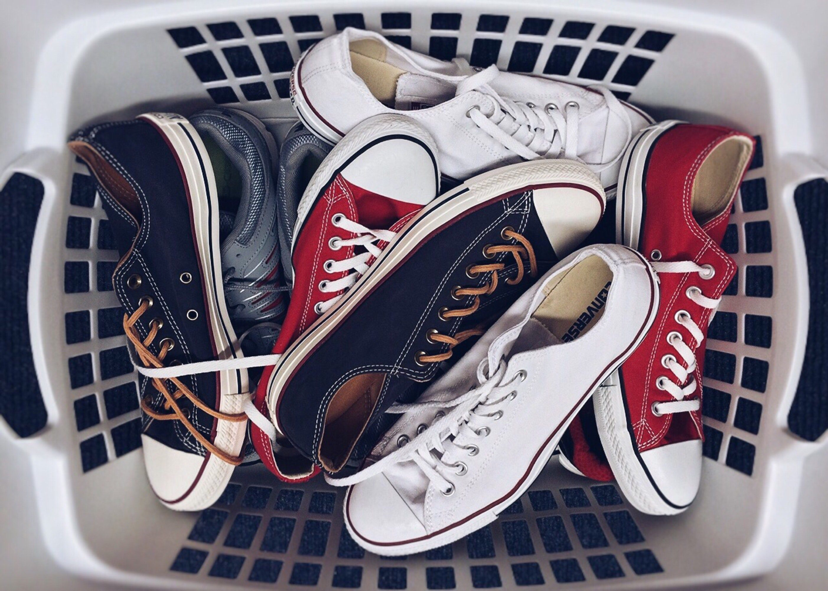 Washed trainers in a basket