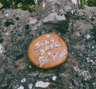 Rock with writing on